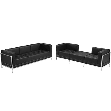 Flash Furniture – Ensemble avec fauteuils et pouf HERCULES Imagination en cuir noir, 4 modules (ZBIMAGSET15)