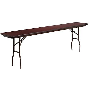 Flash Furniture 18'' x 96'' Rectangular Mahogany Melamine Laminate Folding Training Table (YT1896MELWAL)