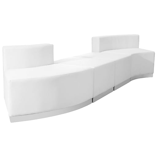 Flash Furniture  Hercules Alon Leather Reception Configuration, White, 4 Pieces (ZB803860SWH)