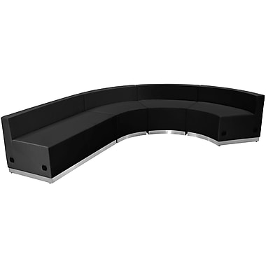 Flash Furniture Hercules Alone Series Leather Reception Configuration, 4 Pieces, Black (ZB803760SBK)