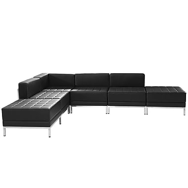 Flash Furniture Hercules Imagination Series Black Leather Sectional Configuration, 6 Pieces (ZBIMAGSECTSET8)