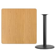 "Flash Furniture 42''L Laminate Square Table Top with 24''W x 42""H Round Bar Table Base, Natural (XUNT4242TR24B)"