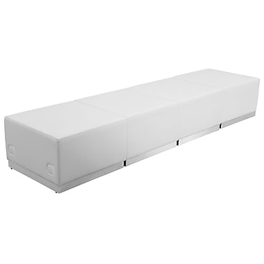 Flash Furniture Hercules Alon Series Leather Reception Configuration, 4 Pieces, White (ZB803540SWH)