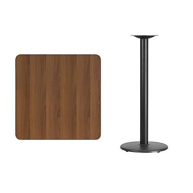 Flash Furniture 30'L' Square Table with 18''W Round Bar Height Table Base, Walnut Laminate (XUWA3030TR18B)