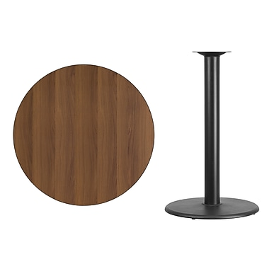 Flash Furniture 36'' Round Laminate Table Top, Walnut with 24'' Round Bar-Height Table Base (XURD36WATR24B)
