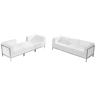 Flash Furniture Hercules Imagination Series White Leather Sofa and Lounge Chair Set, 4 Pieces (ZBIMAGSET15WH)
