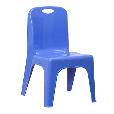 Flash Furniture Plastic Stackable School Chair with Carrying Handle and 11'' Seat Height, Blue (YUYCX011BLUE)