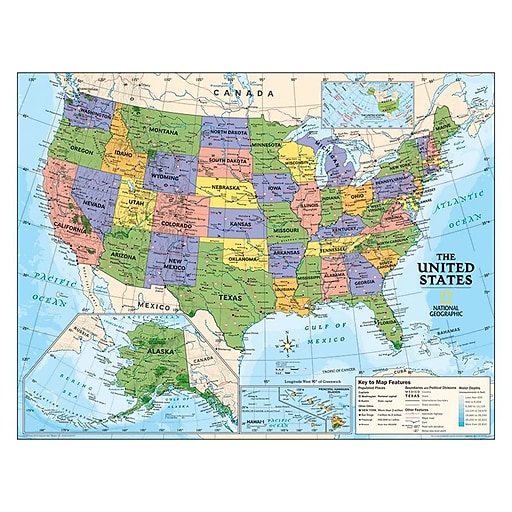 National Geographic Maps Political Series Usa Map Grades 4th 12th