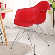 AdecoTrading Dining Arm Chair (Set of 2); Red