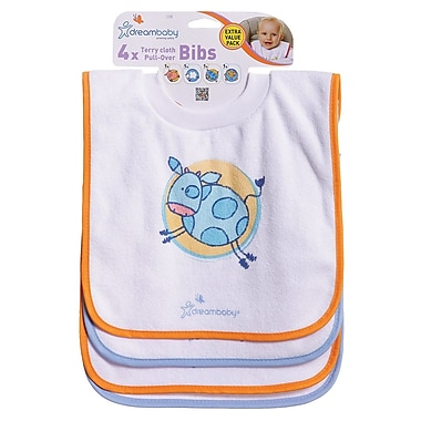 Dreambaby ® Cotton/Polyester Terry Cloth Pullover Bib, 4/Pack (L538)