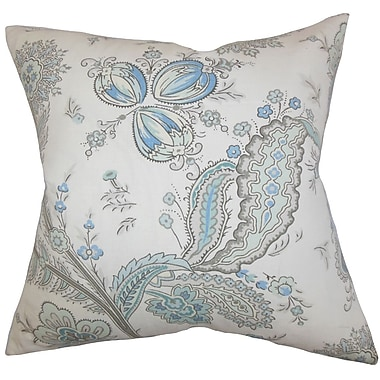 The Pillow Collection Dilys Floral Linen Throw Pillow Cover; Blue