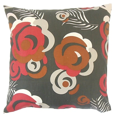 The Pillow Collection Riyaz Floral Throw Pillow Cover; Currant