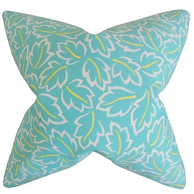 The Pillow Collection Kateri Foliage Throw Pillow Cover; Turquoise