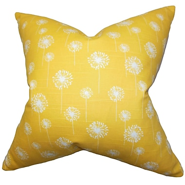 The Pillow Collection Joop Floral Cotton Throw Pillow Cover; Yellow