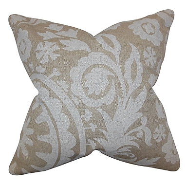 The Pillow Collection Wella Floral Throw Pillow Cover; Natural