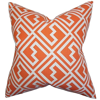 The Pillow Collection Ragnhild Geometric Throw Pillow Cover; Tangerine