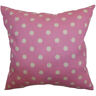 The Pillow Collection Rennice Ikat Dots Throw Pillow Cover; Pink