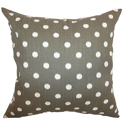 The Pillow Collection Rennice Ikat Dots Throw Pillow Cover; Brown Dossett