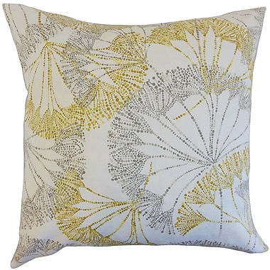 The Pillow Collection Grove Floral Cotton Throw Pillow Cover; Yellow