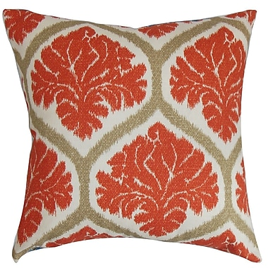 The Pillow Collection Priya Floral Cotton Throw Pillow Cover; Russett
