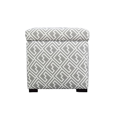 MJLFurniture Shakes Square Shoe Storage Ottoman; Gray/White