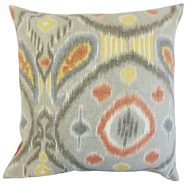 The Pillow Collection Janvier Ikat Throw Pillow Cover; Mineral