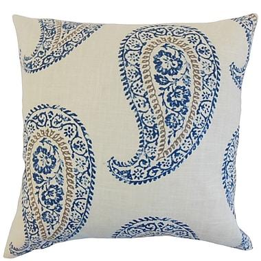 The Pillow Collection Neith Geometric Linen Throw Pillow Cover; Indigo