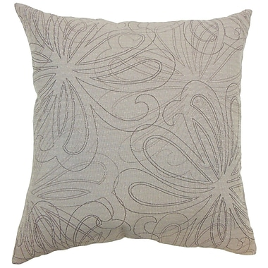 The Pillow Collection Pomona Floral Throw Pillow Cover; Sand