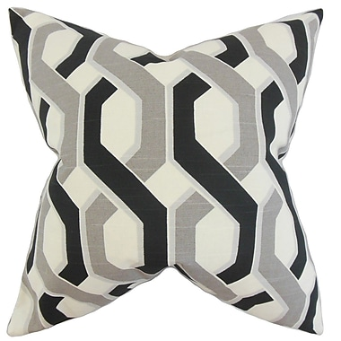 The Pillow Collection Chauncey Geometric Cotton Throw Pillow Cover; Gray Black