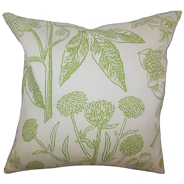 The Pillow Collection Neola Floral Throw Pillow Cover; Green