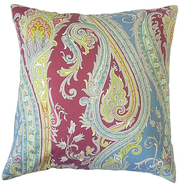 The Pillow Collection Efharis Paisley Cotton Throw Pillow Cover; Crimson