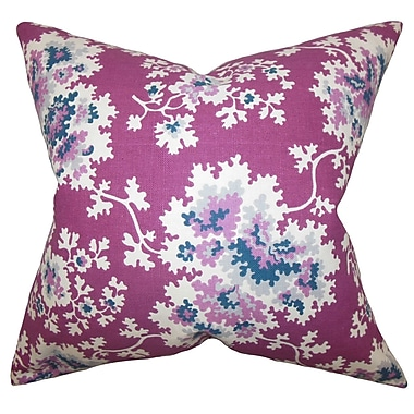 The Pillow Collection Danique Floral Throw Pillow Cover; Purple