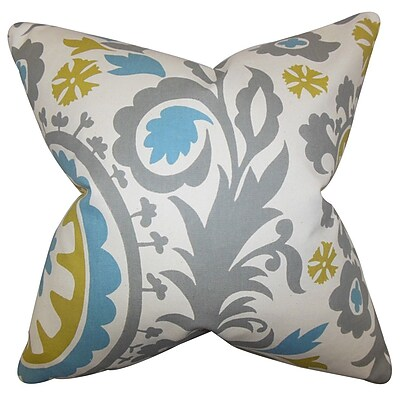 The Pillow Collection Wella Floral Throw Pillow Cover; Gray Blue