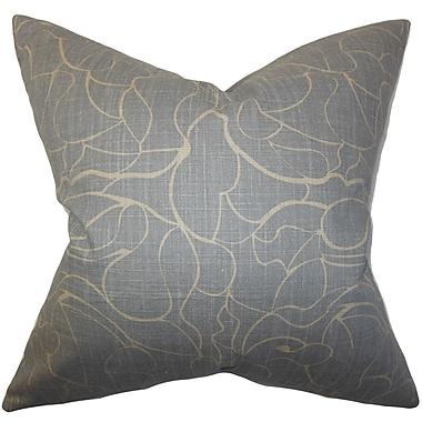 The Pillow Collection Floral Cotton Throw Pillow Cover; Gray