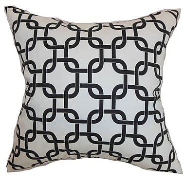 The Pillow Collection Qishn Geom Throw Pillow Cover; White Black