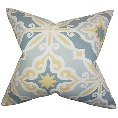The Pillow Collection Adriel Geometric Cotton Throw Pillow Cover; Blue