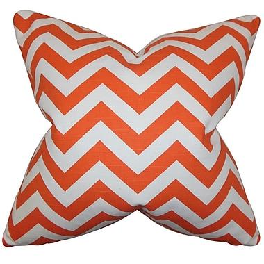 The Pillow Collection Falkner Chevron Cotton Throw Pillow Cover; Tangerine