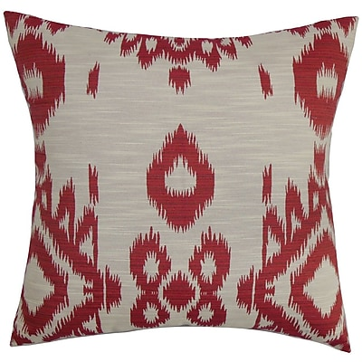 The Pillow Collection Gaera Ikat Throw Pillow Cover; Pepper