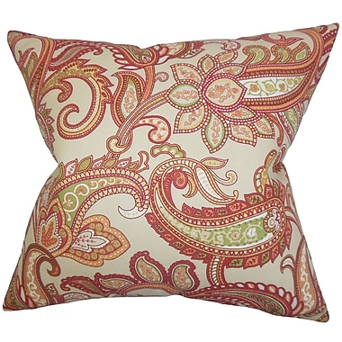 The Pillow Collection Galila Floral Throw Pillow Cover; Orange