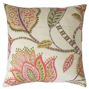 The Pillow Collection Mazatl Floral Linen Throw Pillow Cover; Blush