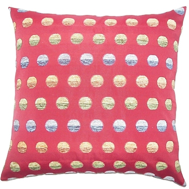 The Pillow Collection Vlora Polka Dots Throw Pillow Cover; Red