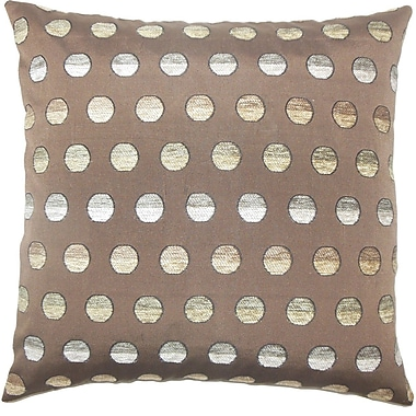 The Pillow Collection Vlora Polka Dots Throw Pillow Cover; Brown