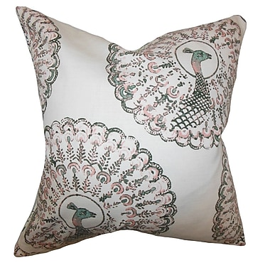 The Pillow Collection Ieesha Animal Print Throw Pillow Cover; Pink Green