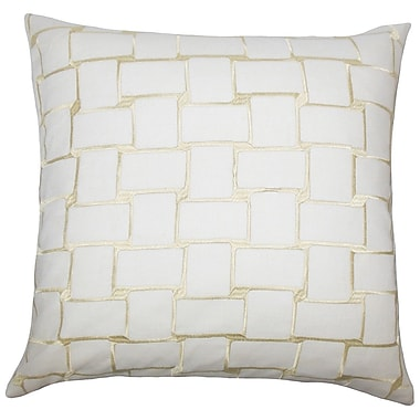 The Pillow Collection Kalyca Geometric Throw Pillow Cover; Buff