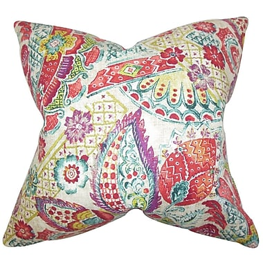 The Pillow Collection Heidrun Floral Throw Pillow Cover; Brown