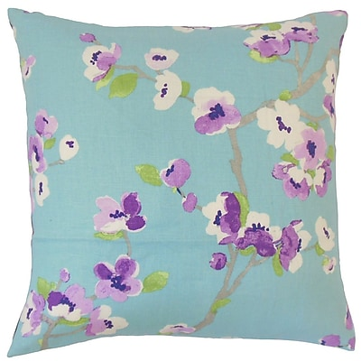 The Pillow Collection Dashania Floral Linen Throw Pillow Cover; Turquoise