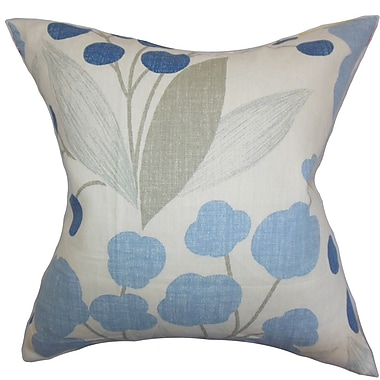 The Pillow Collection Geneen Floral Linen Throw Pillow Cover; Blue