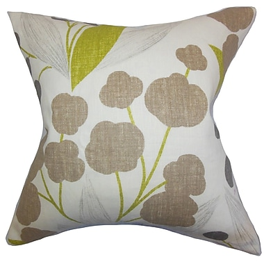 The Pillow Collection Geneen Floral Linen Throw Pillow Cover; Olive