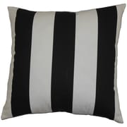 The Pillow Collection Leesburg Stripes Cotton Throw Pillow Cover; Black White