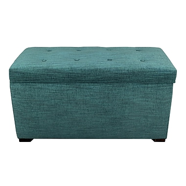 MJLFurniture Angela 8 Button Tufted Lucky Storage Trunk - Bench; Turquoise